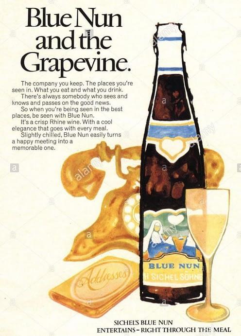 1970s uk blue nun magazine advert EXPC6B 1 735x1024 - Riesling on the run..
